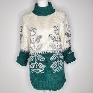Vintage Oversized Knitted Turtleneck Sweater Cream